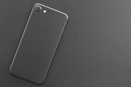 phone matte black color backside on top view Stock Photo