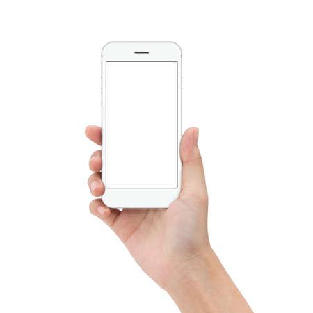 close-up hand houden telefoon geïsoleerd op wit, mock-ups telefoon witte kleur leeg scherm