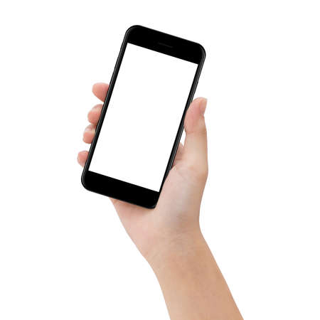 Close-up hand houden telefoon geïsoleerd op wit, spot op smartphone leeg scherm makkelijk aanpassen met uitknippad Stockfoto