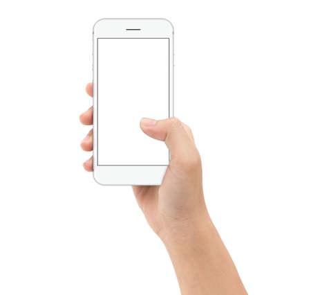 hand met slimme telefoon op witte achtergrond clipphing pad binnen, mock-up telefoon wit scherm Stockfoto