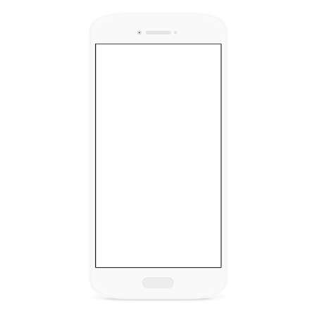 mobile cellular: white flat phone white screen, vector drawing new smart phone design Illustration