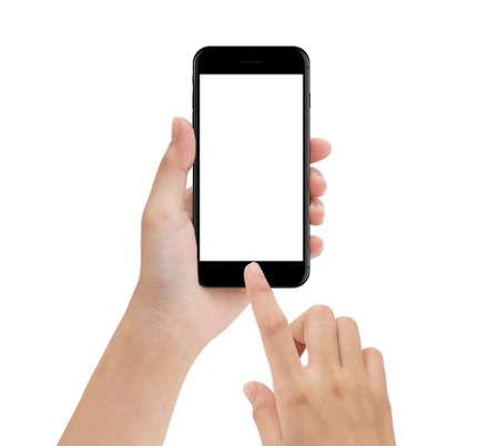 Close-up mano utilizando teléfono móvil aislado en blanco, simulacro de pantalla en blanco de smartphone fácil ajuste con trazado de recorte Foto de archivo - 67086824