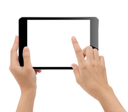 close-up hand holding tablet isolated white