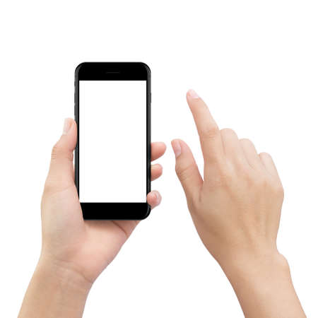 close-up hand touching smartphone screen isolated on white, mock up phone mobile blank screen easy adjustment with clipping path Archivio Fotografico