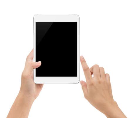 Mock-up digitale tablet in de hand geïsoleerd op een witte achtergrond met uitknippad binnen Stockfoto - 72442986