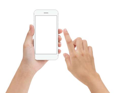 Hand aanraken telefoon mobiel scherm geïsoleerd op wit, mock up smartphone leeg scherm makkelijk aanpassen met uitknippad Stockfoto