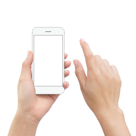close-up hand holding smartphone mobile and hand element touch screen isolated on white clipping path inside Reklamní fotografie - 74993650