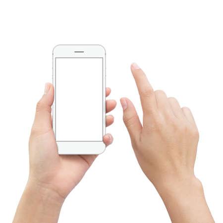 mobiele hand van de close-uphandholding en het de aanrakingsscherm van het handelement op witte het knippen weg binnen wordt geïsoleerd die