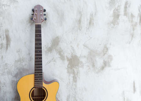 acoustic guitar on loft background with copy space