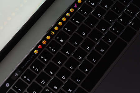 Closeup compter keyboard showing illuminated on night