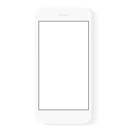 white flat phone white screen, vector drawing modern smart phone design  イラスト・ベクター素材
