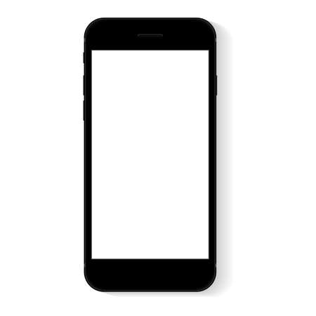 flat phone white screen, vector drawing modern smart phone design