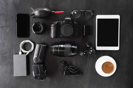 camera gear device set on dark background Stok Fotoğraf - 83255203