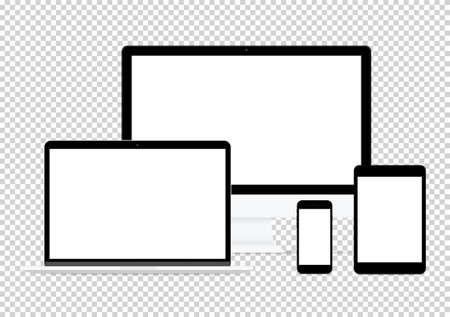 現代のコンピューター電子フラット デザイン ベクトル透明の背景上の図面のセット