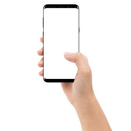 hand met mobiele telefoon geïsoleerd op witte achtergrond uitknippad binnen