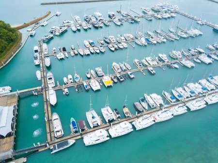 high angle view of marina bay in phuket island Stok Fotoğraf - 84200111