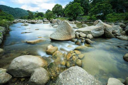 long exposure river stream at kiriwong village, thailand Stok Fotoğraf