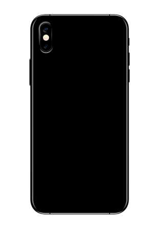 back side view new phone dual camera vector drawing format isolated on white background Illustration