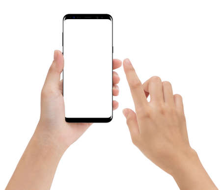 close-up hand hold and touching on phone mobile isolated white background