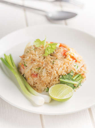 close-up fried rice on white table angle side view