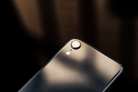 close-up back side of new smartphone 免版税图像
