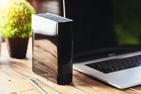 external hard drive on desk