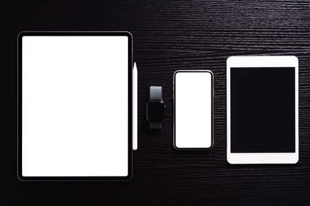 communication electronic device on table top view 免版税图像
