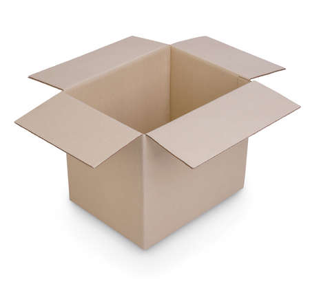 cardboard box isolated showing inside perspective view on white background