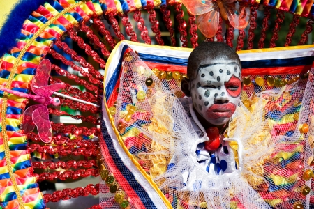 parade: Trinidad, West Indies - February 2 - An unidentified costumed participant takes part in Trinidad Carnival celebrations during Junior Parade of the Bands February 2, 2008 in Trinidad W I