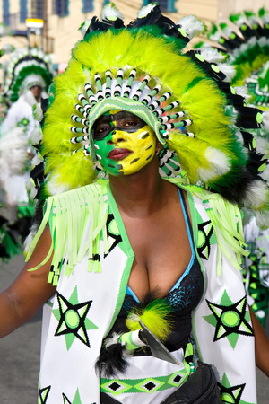 Trinidad, West Indies - February 5, 2008 - Masquerader in a colorful costume during Trinidad Carnival celebrations on February 5, 2008 in Trinidad W I