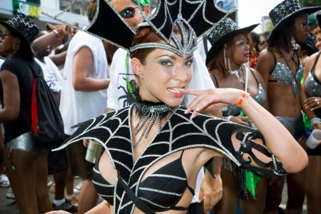 masquerader: Trinidad, West Indies - February 4 - Masquerader in a creative costume during Carnival celebrations on February 4, 2008 in Trinidad W I
