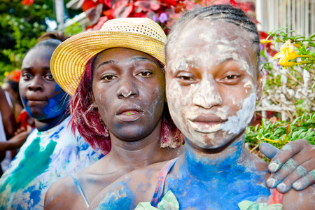revellers: Trinidad, West Indies - February 4, 2008  Revellers participate in Trinidad Carnival celebrations on J Ouvert morning February 4, 2008 in Trinidad W I  Editorial
