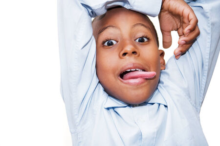 wrinkled brow: portrait of a boy having some crazy fun Stock Photo