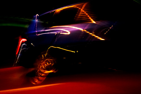 car light streaks abstract - long exposure