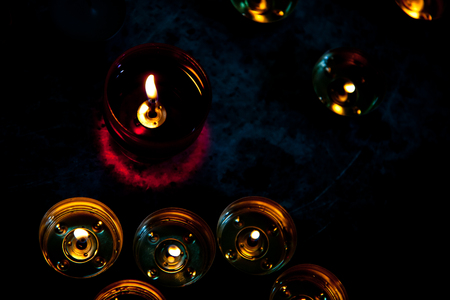 vigil candle holder with wick tabs Stock Photo