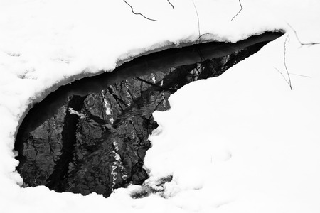 icy water - hole in ice Stock Photo