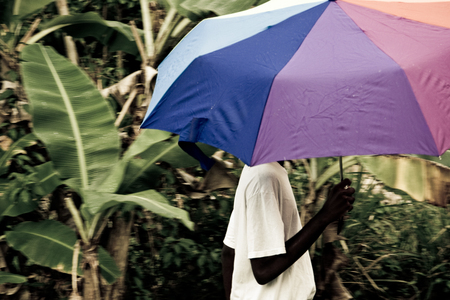 teen walking with umbrella in the warm tropical rain of the caribbean Stock Photo