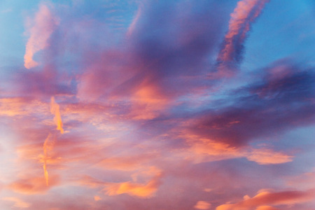 colorful sky with cirrostratus and cirrus clouds at sunset