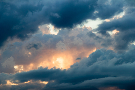 magical sky with stratocumulus clouds at sunset Stock Photo