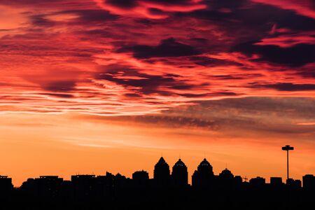 colorful fiery sky at sundown - altocumulus clouds