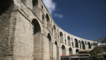 An ancient aqueduct in Kavala Greece Stock Photo