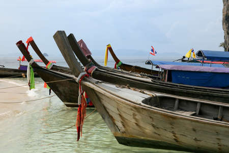 Long tail wooden boats Phi Phi Islands, Thailand Stock Photo