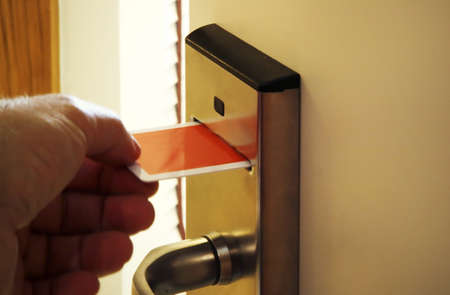 Hotel card key door Stock Photo