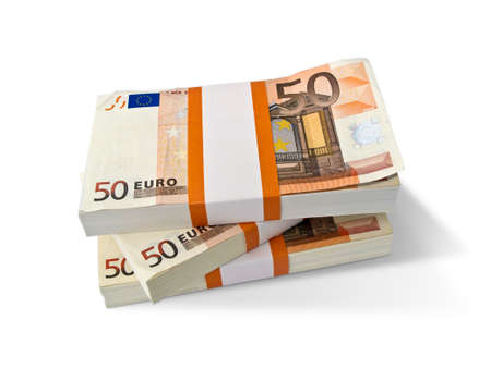 Stacks with Euro banknotes isolated on white Stock Photo