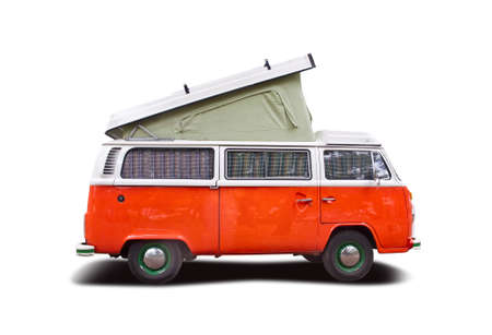 Orange van camper side view isolated on white