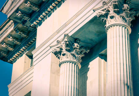 greek columns: Classical Greek Columns in a Bank building