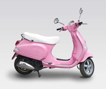 Pink italian scooter isolated