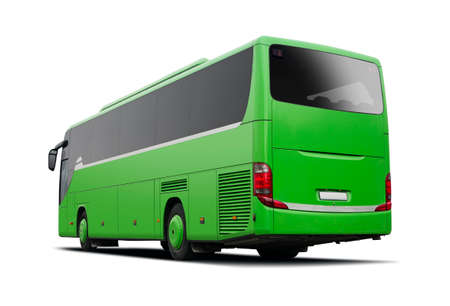 Green bus side view isolated on white Stock Photo