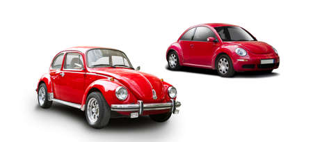 Old and new red VW Beatle isolated on white