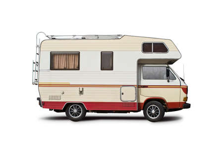 VW motorhome side view isolated on white